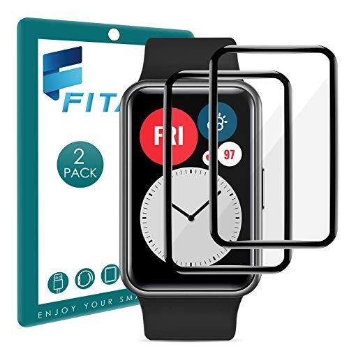 FITA 3D Protector de Pantalla Compatible Con Huawei Watch Fit/HONOR Watch ES, [2 Piezas] 99,99% HD Protectores Pantalla,Cobertura Total Película Protectora Compatible Con Huawei Watch Fit Smartwatch