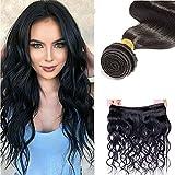 50cm - Extensiones de Cabello Humano Virgen Negro Rizado Sin Procesar 100g Pelo Natural Brasileño Remy Hair Extensions - Body Wave