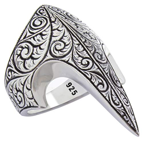 Fang Gothic Biker Retro 925 Stelring Silver Engrave Style Turkish Handmade Luxury Men's Thumb Ring (13.5)