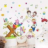 Paraíso De Los Niños De Dibujos Animados Pintado Música Pegatinas De Pared Animales Lindos Estrella Globo Niños Habitación Decoración De La Pared Stave Autoadhesivo Calcomanía