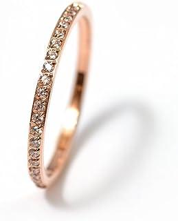 「技術品」極細1.5mmCZダイヤモンドステンレス製ピンキーリング指輪 (ピンクゴールド, 9)