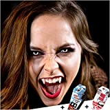 FXCONTACTS Großes Karneval Set, Vampir Kontaktlinsen + Behälter + Vampirzähne + Kunstblut Kapseln, Horror Halloween Kostüm Damen Herren