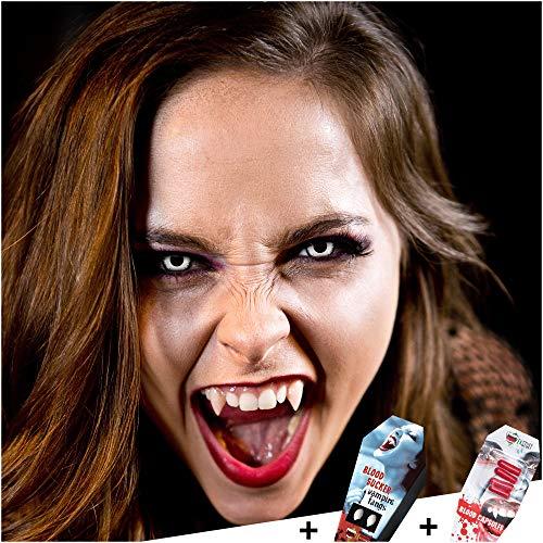 FXCONTACTS Großes Halloween Set, Vampir Kontaktlinsen + Vampirzähne + Kunstblut Kapseln, Horror Karneval Kostüm Damen Herren