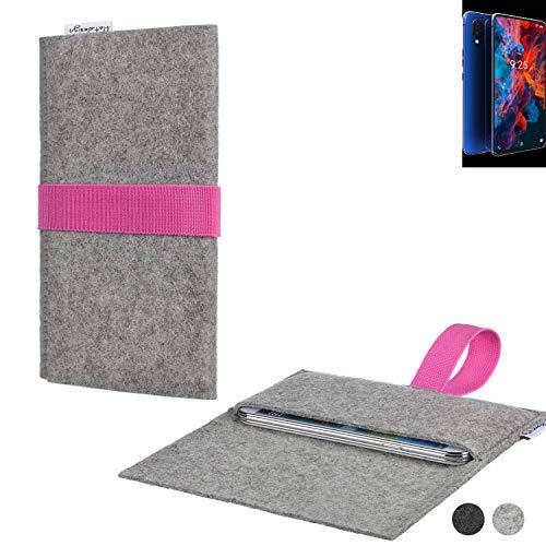 flat.design Handy Tasche Aveiro für Archos Diamond 2019 handgefertig in Deutschland Sleeve Hülle Etui Filz hellgrau rosa