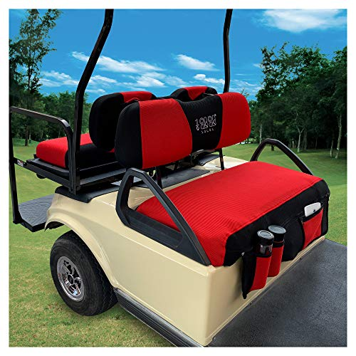 10L0L Golf Cart Front and Rear Seat Cover Sets for EZGO TXT RXV & Club Car DS, Front Seat Cover with Storage Bags Breathable Washable Polyester Mesh Cloth Black Gray Red(Front and Back Seat Cover)