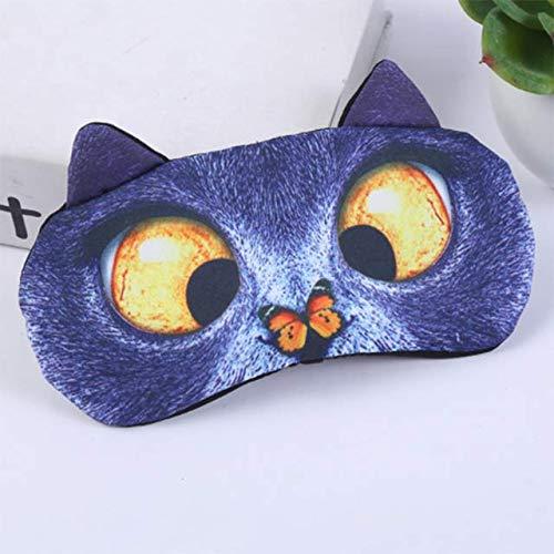 Weili Cubierta de Sombra de Ojos Natural máscara Visera máscara para Dormir Lindo del Gato para Mujer Perro Hombres Suaves Ojos vendados Viaje Anti-insomnio Vendaje de sombreado de Ojos de sueñ.