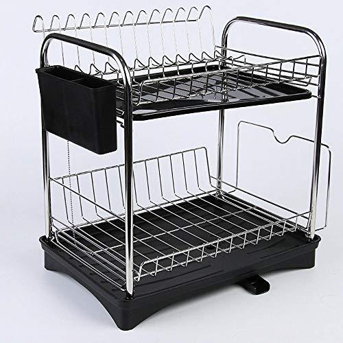 TTXP Rostfreier Stahl Kitchen Rack 2 Etagen mit Abtropfschale,32x29x38cm / 13x11x15inSchwarz Dish Sink Drain Rack für Hauptküche