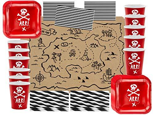 76 TLG. Geschirr Set Piraten Party Pirates Kindergeburtstag Teller Becher Servietten Tischset Schatzsuche Party für bis zu 12 Kinder