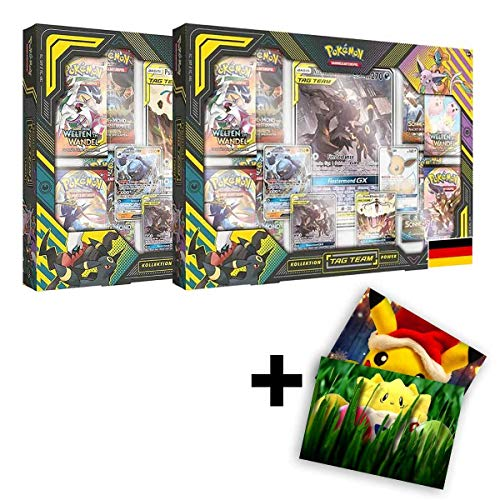 Lively Moments Pokemon Karten 2 Tag Team Power Kollektionen Bundle Psiana & Nachtara DE Deutsch + GRATIS Grußkarte