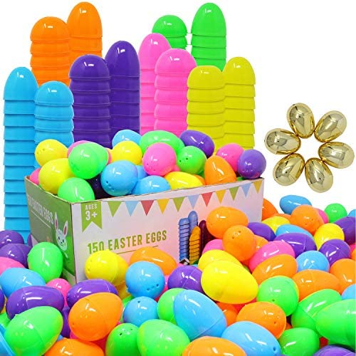 JOYIN 144 Pieces 2 3 8 Easter Eggs 6 Golden Eggs for Filling Specific Treats Easter Theme Party product image
