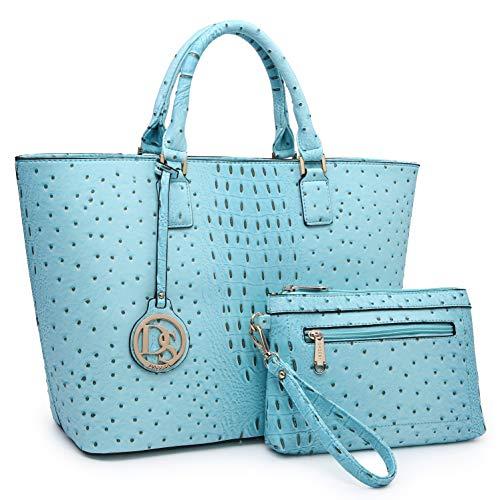 Women Vegan Ostrich Leather Handbag Tote Bag Top Handle Purse Satchel Hobo Bag 2 Handbags Set (Turquoise)