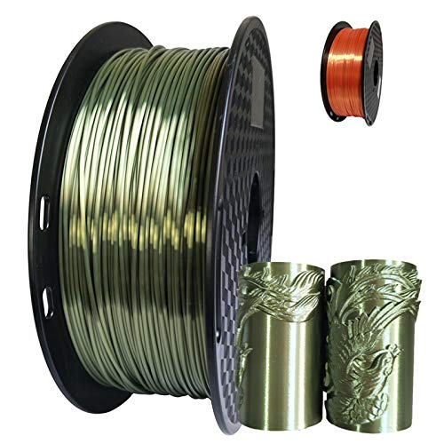QingH yy PLA 3d Printer Filament Shine Silky Filament Bundle 1.75mm 1kg Spool (2.2 Lbs) Shiny Bronze DYCS0820 (Color : Green, Size : 250g)