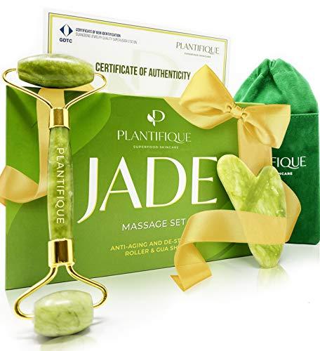 Rullo di giada certificato per il viso - Roller viso Qualità naturale al 100{ba9ea34f2a4903ac3864ddd08d84b32cb70d9994e9ab42f419f5d0460e568d0f} e premium - Massaggiatore viso anti-età con strumento di raschiatura Gua Sha Face Jade Roller Massage - Massaggio viso