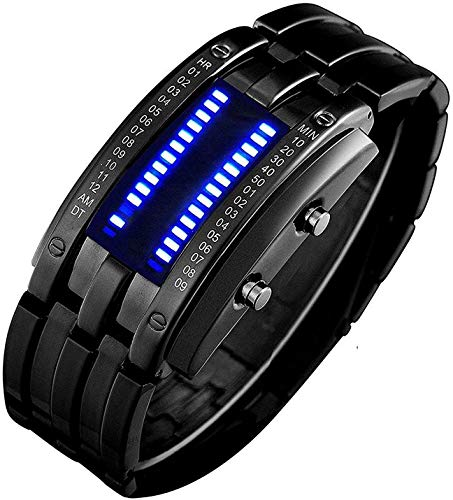 PASOY Binary Blue LED Digital Watch Mens Classic Creative Fashion Square Black Plated Women Boys Date Wrist Watches (Black)