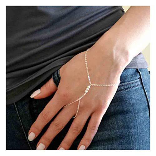 Olbye Pearl Finger Ring Bracelet Silver Slave Bracelet Hand Chain Everyday Jewelry for Women and Teen Girls (Silver)