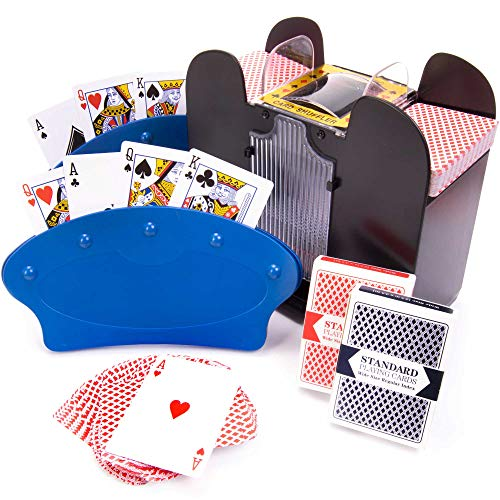 Hands-Free Card Game Night Bundle - Includes Playing Card Holders, 6 Deck Capacity Automatic Shuffler, and Full Deck of Cards - Great for Kids, Senior Citizens, Families, and More