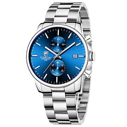 GOLDEN HOUR Reloj de Cuarzo para Hombre de Negocios de Moda con cronógrafo Impermeable de Acero Inoxidable para Hombre, Fecha automática (Sliver/Blue Dial)
