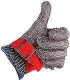 Guantes Resistentes al Corte de Nivel 5 Guantes de Trabajo de Seguridad de Carnicero de Malla Metálica de Alambre de Acero Inoxidable (XL)