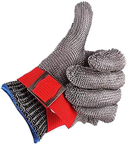 CPTDCL Gants de boucher en maille métallique en acier inoxydable résistant à la coupure de sécurité rouge Niveau 5 Protection Taille XL