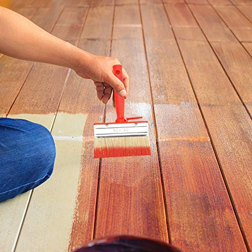 birdsunshine 3 Pcs Shed Fence Paint Brushes, Decking & Timber Block Brush 4.7Inch/120mm (Red)