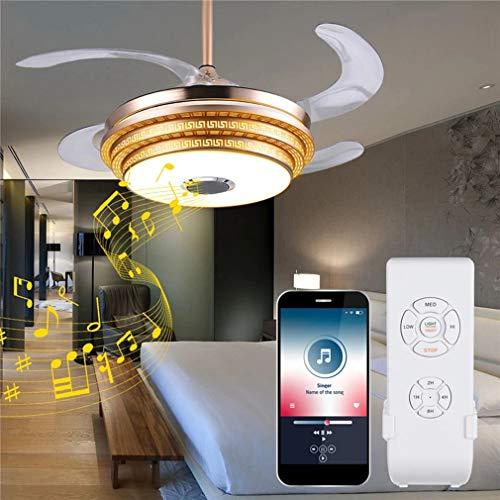 Fan Light Plafondverlichting Modern Dimbaar Plafond LED-ventilatorlamp Bluetooth Speaker LED kroonluchter licht + afstandsbediening voor thuis Huiskamer Eetkamer Slaapkamer