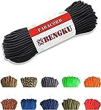BENGKU Outdoor Mil-SPEC 550lb Paracord/Parachute Cord(MIl-C-5040-H),100Feet (Black, 100.00)