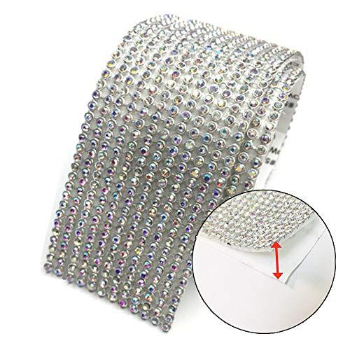 Anyasen strassband selbstklebend 12 Reihen Strasssteinband zum Aufkleben Strass Glitzerband Strasssteine Strassborte Selbstklebenden Selbstklebende Strasssteine am Band Strassborte 4.5cm×100cm(Silber)