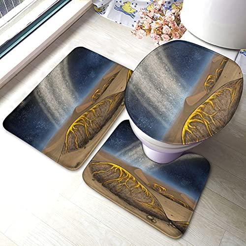 Lot de 3 tapis de salle de bain antidérapants avec motif Mines dorées sur Saturne - Tapis de bain et d
