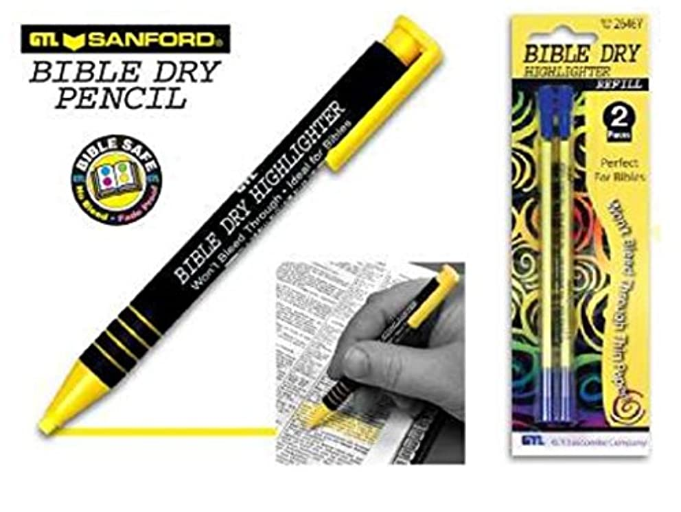 Yellow Dry Bible Highlighter Pen With 2 Pack Yellow Bible Dry Highlighter Refill