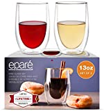 Wine Glasses - Set of 2-13 oz Tumbler Cup - Double Walled Glassware - Stemless Large Drinking Glass - Red & White Wine Tumblers by Eparé