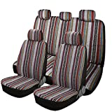 SHAKAR Baja Seat Covers for Car Seats Full Set,Tribal, Heavy Duty Blanket Cloth, Auto Seat Protector,Multicolor (5 Seats)