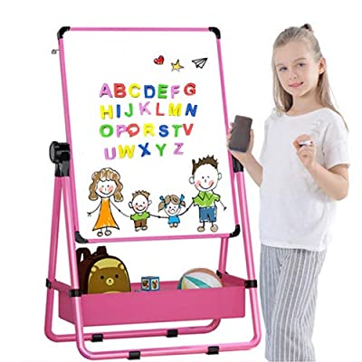 Kids Art Easel U-Stand Whiteboard&Chalkboard Double Sided Stand, 29.5inch-44inch Height Adjustable & 360°Rotating with Many Magnetic Letters and Numbers (Pink)