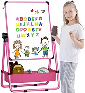 Kids Art Easel U-Stand Whiteboard&Chalkboard Double Sided Stand, 29.5Inch-44Inch Height Adjustable & 360°Rotating With Bon...