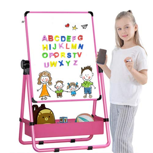 Kids Art Easel U-Stand Whiteboard&Chalkboard Double Sided Stand, 29.5inch-44inch Height Adjustable & 360°Rotating with Bonus Magnetic Letters and Numbers (pink)