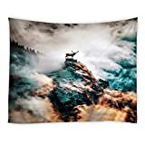 AMFD Amazing View Tapestry Elk On Mountain Foggy Cloud Fantasy Unique Natural Scenery Wall Decor Wall Hanging Art Beach Blanket Dorm Room Bed Sheets 80x60 inch
