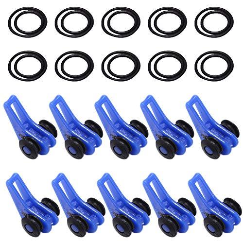 kaakaeu 10 Set verstellbare Angelrute Haken Keeper Gummiringe Köder Jighalter für professionelle Angelzubehör, blau