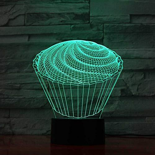 Ydwd7 Coloré Bébé Chambre À Coucher Décor 3D Led La Spirale Cake Lampe De Table Enfants Jouets Cadeaux Veilleuses Veilleuse Au Dessert Dessert Luminaires
