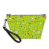 Upetstory Makeup Bag Small Hanging Toiletry Kit Bag for Women Girls Dental Theme Cosmetic Bag for Purse Travel School Lightweight Green
