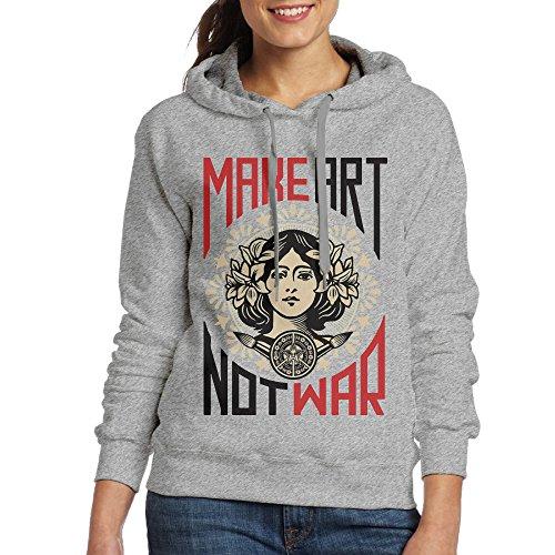 Womens Ash Long Sleeve Pullover Hoodie Make Art, Not War Sweatshirt