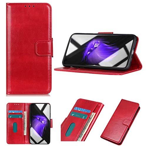 MISKQ Funda para Vivo S9e, Soporte Plegable, Ranura para Tarjeta, Flip Phone Cover Case(Rojo)