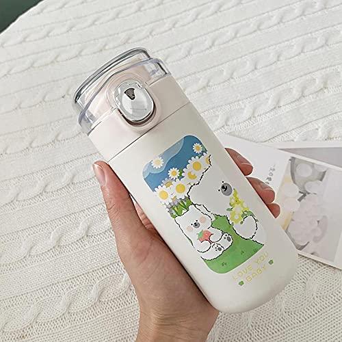 \t Botellas De Agua, Frasco De VacíO De Dibujos Animados Blanco Lechoso Termo De Acero Inoxidable De 320 Ml, DiseñO A Prueba De Fugas para Adolescentes, Adultos