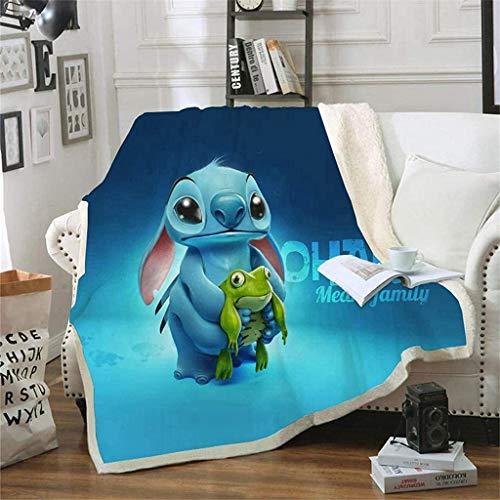 SSIN Manta de dibujos animados Lilo y puntada de impresión manta manta suave franela acogedora manta de felpa para niños niñas niño pequeño (A2,130 x 150 cm)