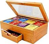 Ecbanli Bamboo Tea Box with Small Drawer, Taller Size Tea Bag Storage Organizer