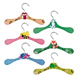 AUEAR, 6 Pack Cute Cartoon Colorful Animal Hangers Clothes Wooden for Coat Clothes