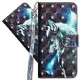 MRSTER Oppo Find X2 Lite Handytasche, Leder Schutzhülle Brieftasche Hülle Flip Hülle 3D Muster Cover mit Kartenfach Magnet Tasche Handyhüllen für Oppo Find X2 Lite 5G. YX Wolf