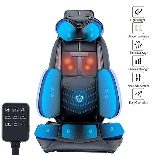 Enwepoeo Car Massage Seat Cushion,Electric Lightweight Air Compression Shoulder, Back, Neck, Waist and Hip Kneading Seat Massager with Waist Airbag for Car Seat