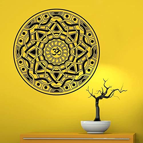 Calcomanía Mandala Patrón de flor de loto Adorno de yoga OM Símbolo de Buda indio Vinilo Etiqueta de la pared Dormitorio Sala de estar Estudio Decoración del hogar Arte Mural Póster
