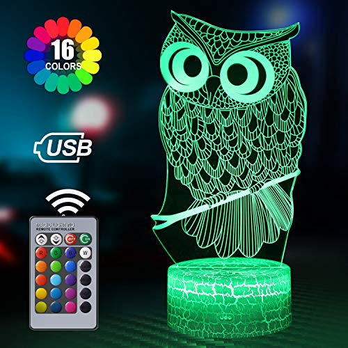 Owl Gifts for Women, Owl 3D Night Light with Remote and 16 Colors Change, Owl Babies, Owleez Flying Owl, Baby Toys 0-6 Months, 6 5 4 Year Old Girl Boy Gifts, Hedwig Owl Gifts for Kids