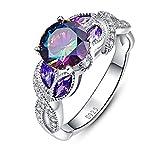 Bonlavie 3.6 carati, zaffiro topazio arcobaleno promise wedding Band anello di fidanzamento in argento Sterling 925, Argento, 61 (19.4), cod. 030R2