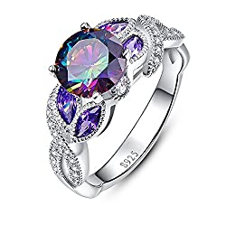 Triple rhodium green electroplating gives a bright, shiny and long-lasting fresh. In 925 sterling silver with top graded quality rainbow topaz and marquise shaped created sapphire. 3.0ct 8*8mm rainbow topaz and 2.5*5mm blue sapphire. A fantastic Ring...